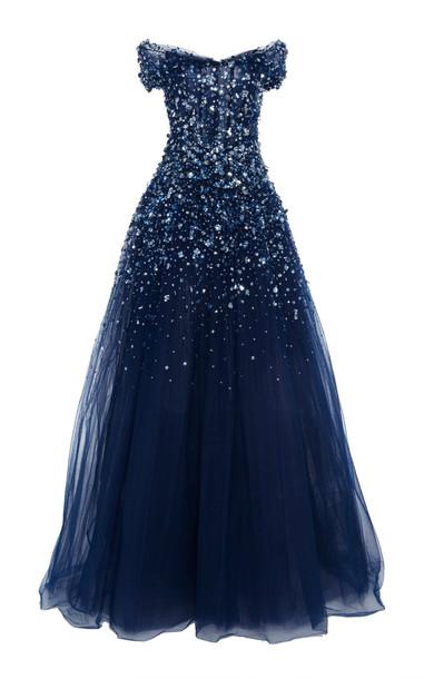 Pamella Roland Off-The-Shoulder Crystal Embellished Tulle Gown in blue