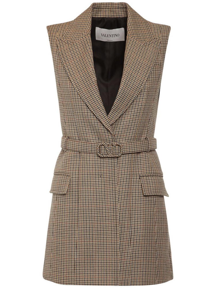VALENTINO Wool Houndstooth Dress W/belt