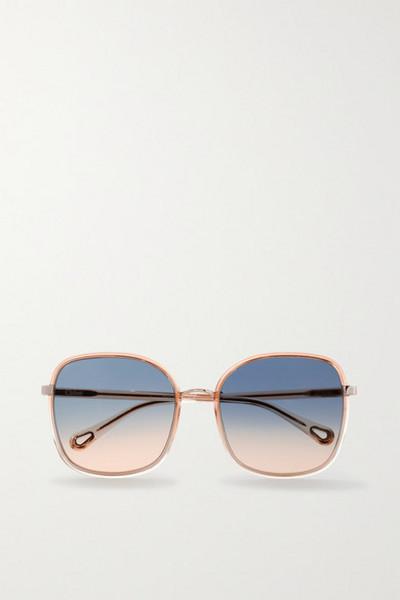 Chloé Chloé - Oversized Square-frame Acetate And Gold-tone Sunglasses - Orange