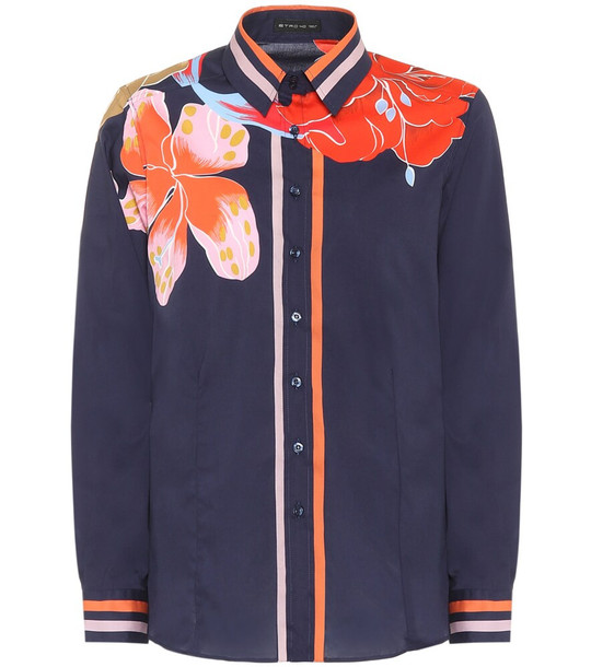 Etro Floral stretch-silk blouse in blue