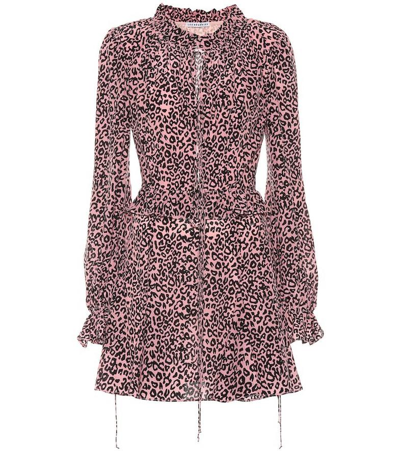 Les Rêveries Exclusive to Mytheresa – Leopard-print crêpe de chine minidress in pink