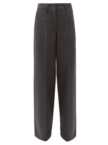 Lemaire - High-rise Wide-leg Twill Trousers - Womens - Dark Grey