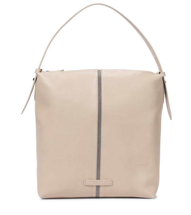 Brunello Cucinelli Leather shoulder bag in beige