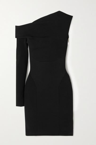 AZ Factory - Mybody One-sleeve Paneled Stretch-knit Mini Dress - Black