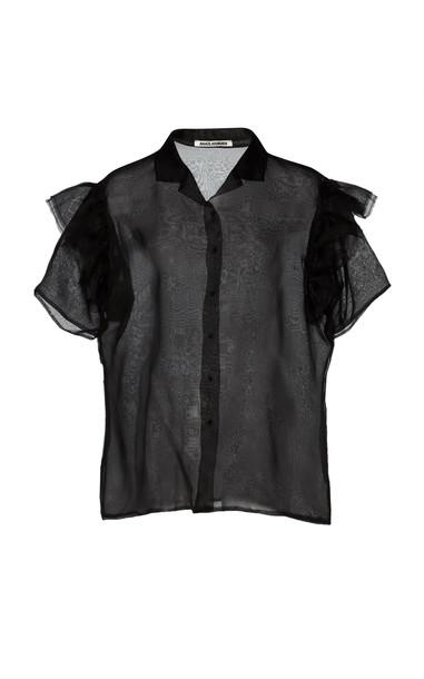 Anaïs Jourden Ruffled Short-Sleeve Organza Blouse in black