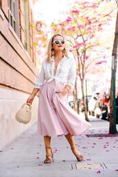 thehuntercollector,blogger,skirt,top,shoes,bag,jewels,pink skirt,tie-front top,high heel sandals,spring outfits