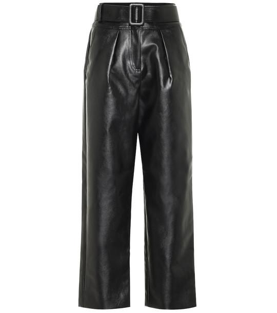 Self-Portrait High-rise wide-leg leather pants in black