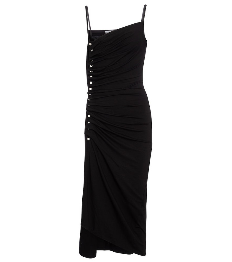 Paco Rabanne Embellished jersey midi dress in black