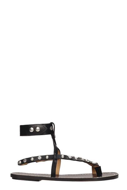 Isabel Marant Black Leather Engo Flat Sandals