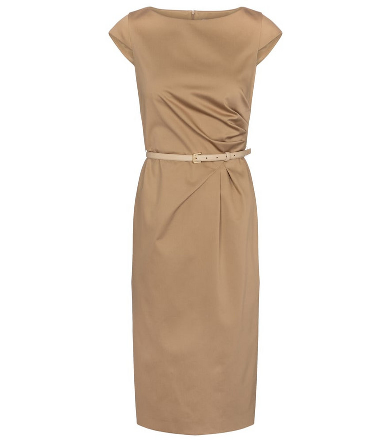 Max Mara Zic belted cotton midi dress in beige