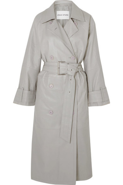 Stand Studio - Pernille Teisbaek Shelby Leather Trench Coat - Gray