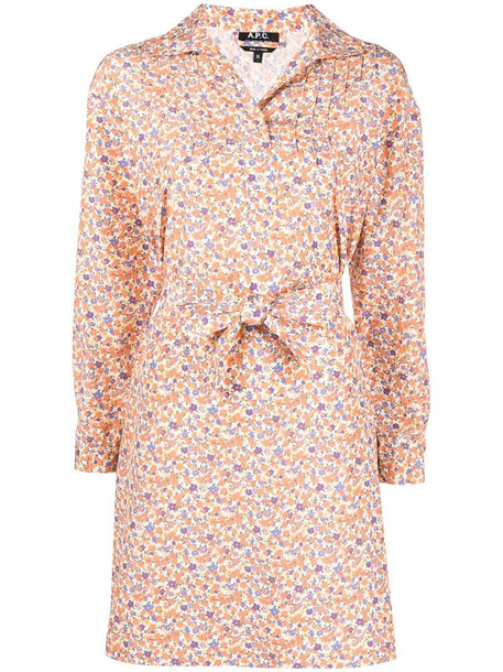 A.P.C. Melissa floral-print dress in orange