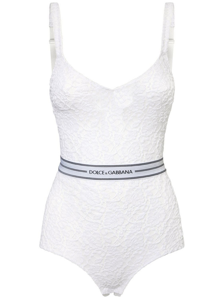 DOLCE & GABBANA Stretch Lace Bodysuit W/ Logo Waistband in white