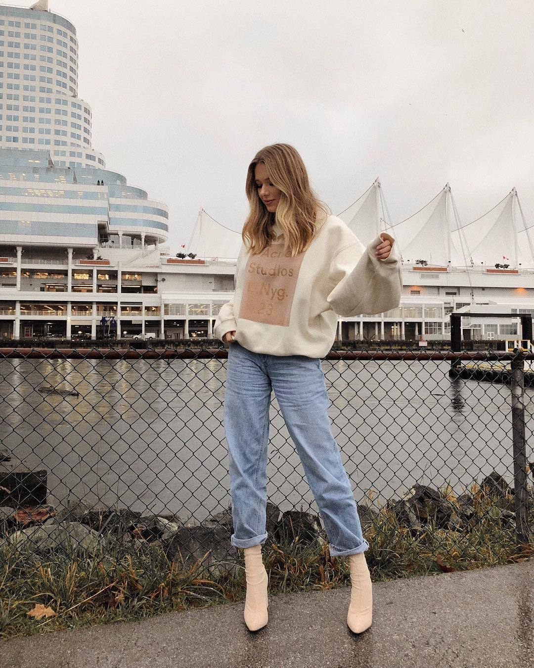sweater sweatshirt acne studios sock boots heel boots straight jeans