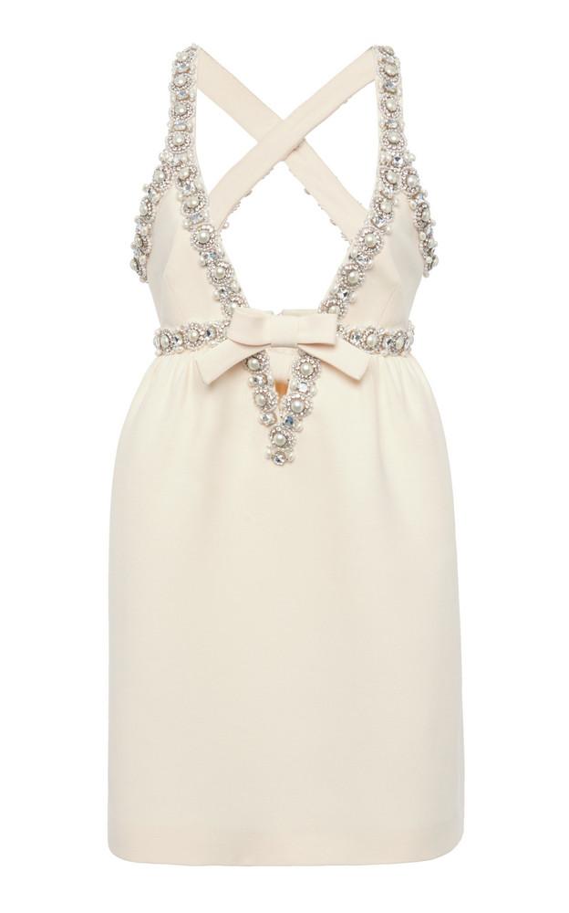 Miu Miu Pearl and Crystal Embellished Crepe Mini Dress in white