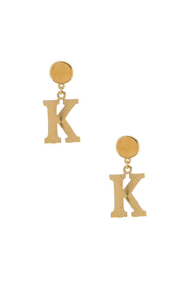 Vanessa Mooney The Illusion K Initial Earrings in gold / metallic