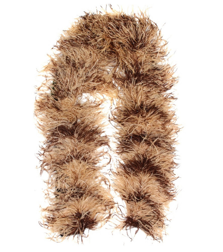 Miu Miu Feather, mohair and wool-blend scarf in beige