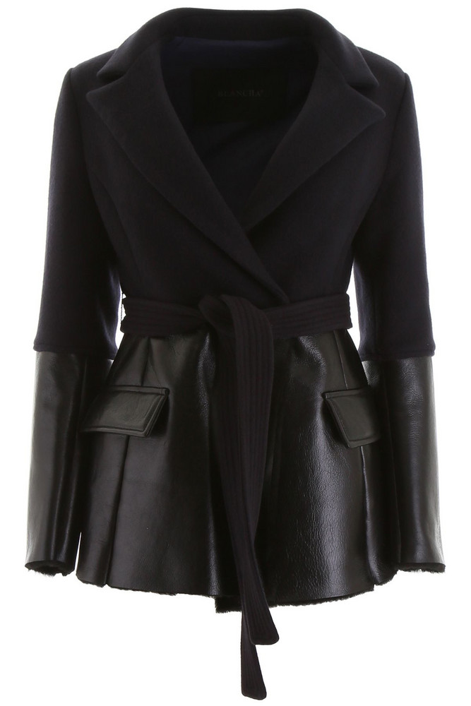Blancha Wool And Shearling Jacket in black / blue