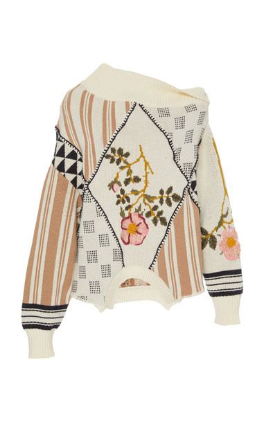 MONSE Jacquard Hand Embroidered Cotton Sweater Size: XS in neutral