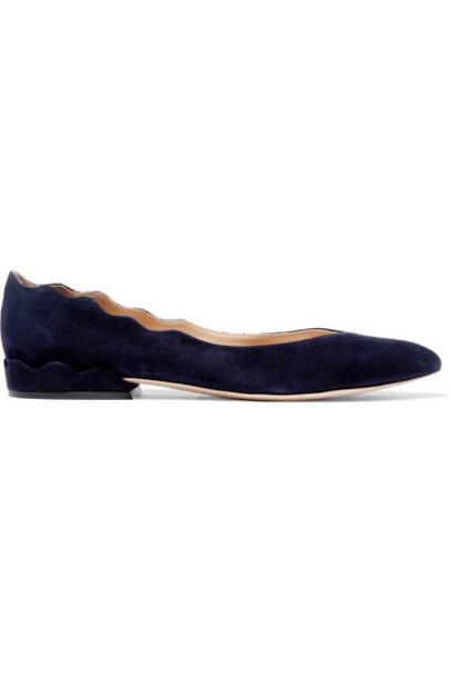 Chloé Chloé - Laurena Scalloped Suede Ballet Flats - Navy