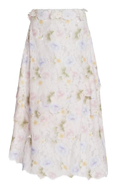 Yuhan Wang Emilija Raw-Cut Floral Cotton-Blend Lace Midi Skirt in multi