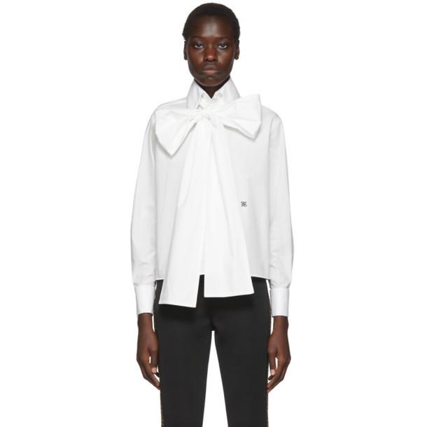 Fendi White Oversized Bow Blouse