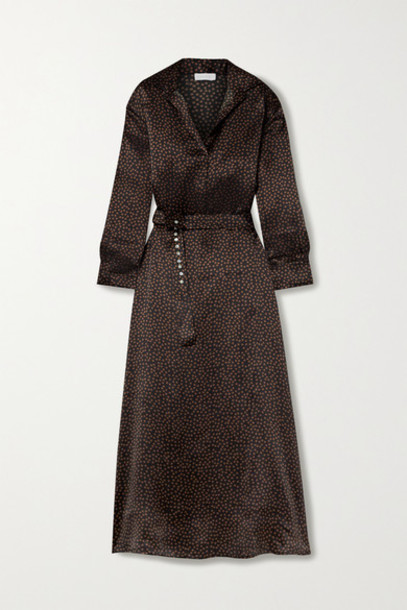 ASCENO - Porto Printed Silk-satin Maxi Dress - Chocolate