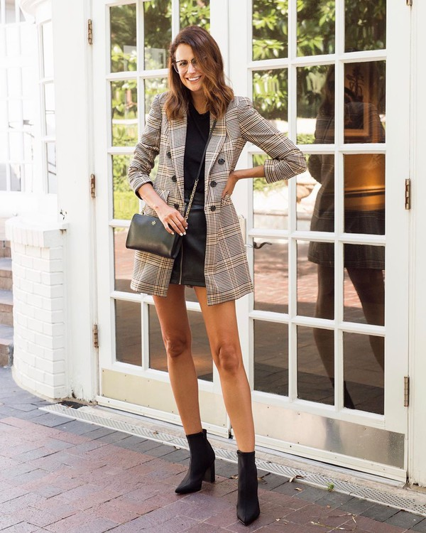 jacket plaid blazer double breasted black boots ankle boots black skirt leather skirt black top black bag