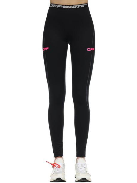 OFF-WHITE Logo Techno Jersey Leggings in black / pink