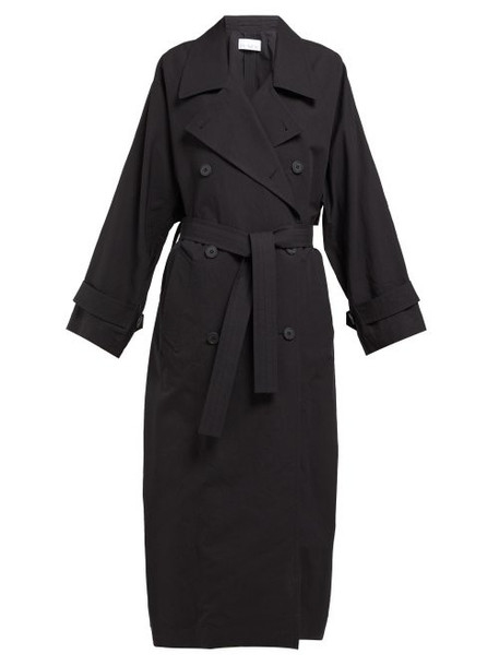 Raey - Papery Cotton Blend Trench Coat - Womens - Black