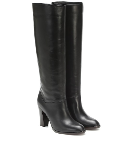 Loro Piana Debbie 90 knee-high leather boots in black