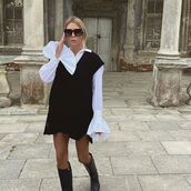 sweater,vest,black sweater,white shirt,black boots