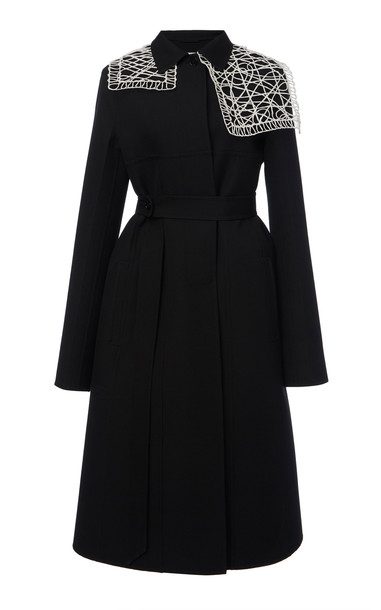 Jil Sander Maddox Macrame-Deatiled Wool-Blend Coat Size: 34 in black