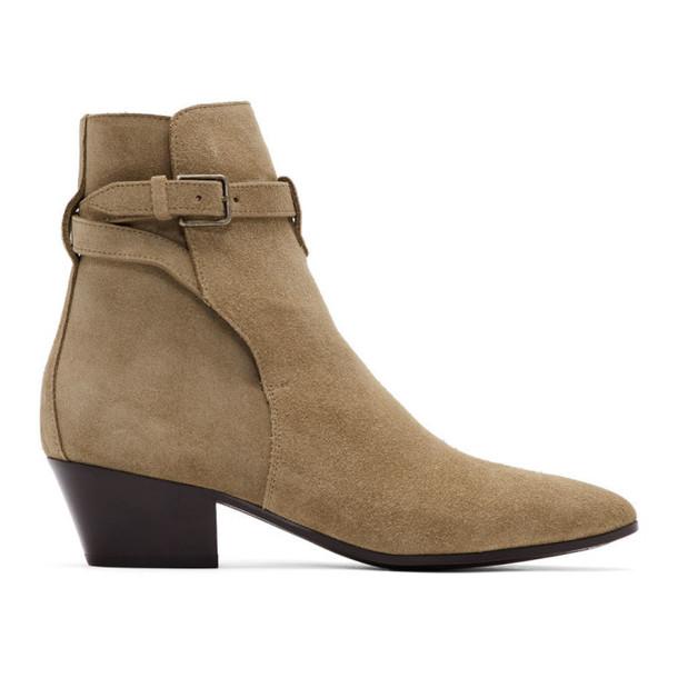 Saint Laurent Taupe Suede West Jodhpur Boots