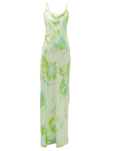 Rat & Boa - Juniper Tie Dye Satin Maxi Dress - Womens - Green
