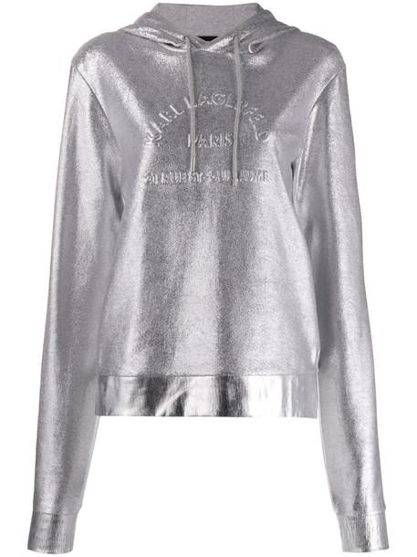 Karl Lagerfeld Address Logo hoodie in silver