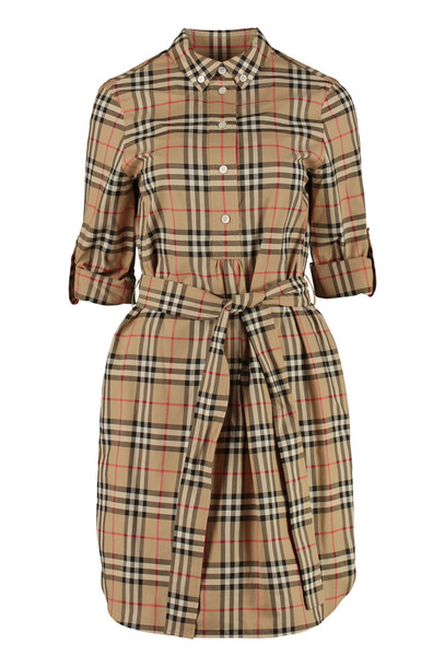 Burberry Checked Cotton Shirtdress in beige