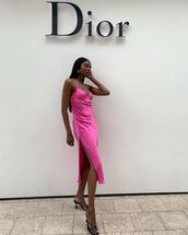 dress,midi dress,slit dress,pink dress,sleeveless dress,black sandals