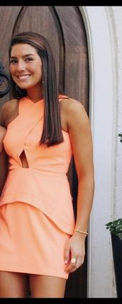 dress,cross neck halter,bright orange dress,cut-out dress