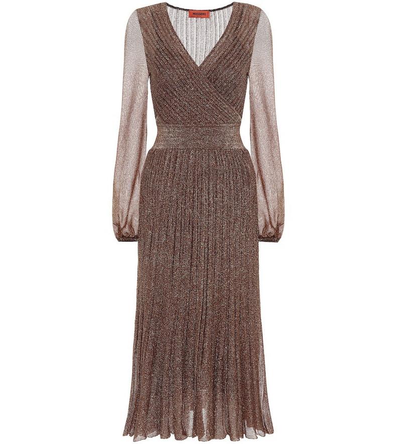 Missoni Metallic knit midi dress in gold