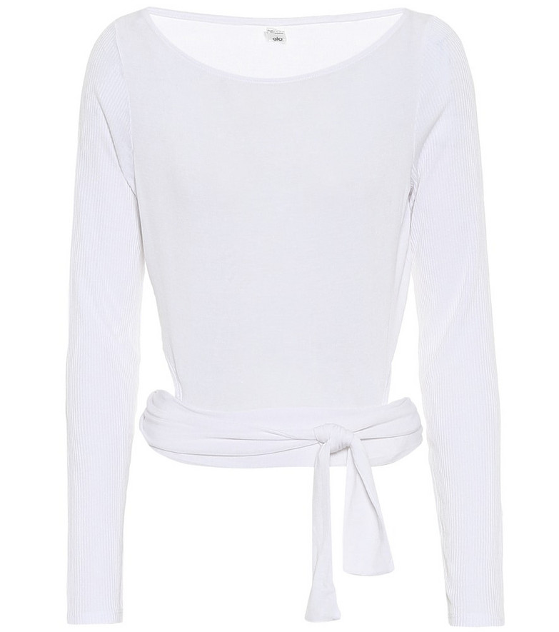 Alo Yoga Barre stretch-jersey top in white