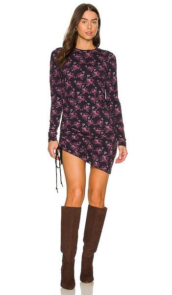 Pam & Gela Ditsy Shirred Dress in Purple in print