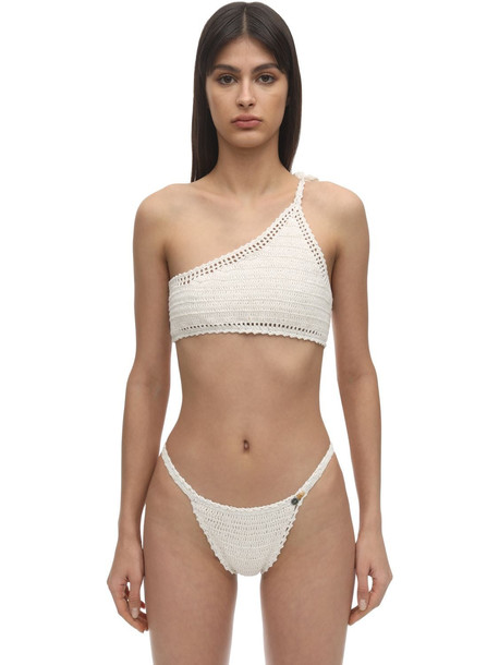 SHE MADE ME One Shoulder Crochet Bikini Top in white