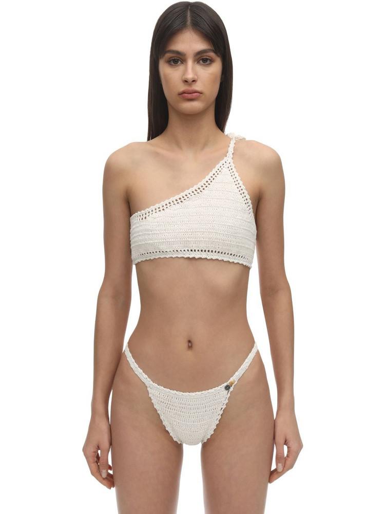 SHE MADE ME One Shoulder Crochet Bikini Top in white