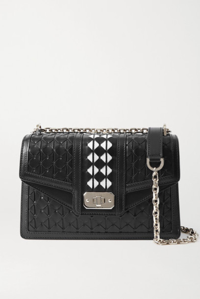 Serapian - Diamante Woven Leather Shoulder Bag - Black