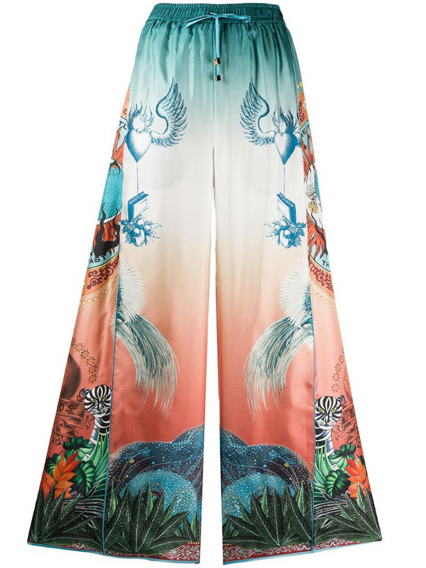 F.R.S For Restless Sleepers Luna japanese print flared trousers in blue