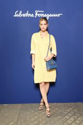 bag,yellow,yellow dress,purse,barbara palvin,model,sandals