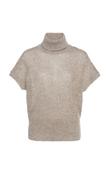 Brunello Cucinelli Metallic Wool-Blend Turtleneck in neutral