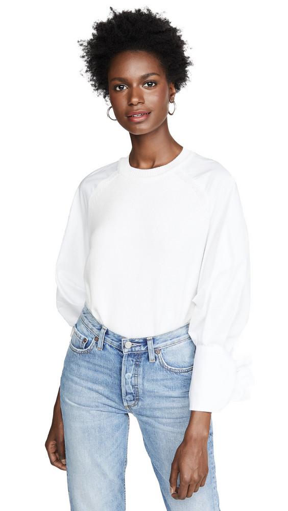 Adeam Bow Cuff Sweater in white