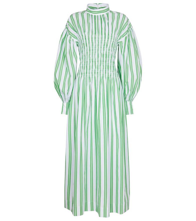 Ganni Striped cotton dress in green